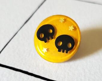 Yellow Skull and Stars Pin
