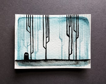 Ghost Mini Painting, Black and Blue Forest Variation