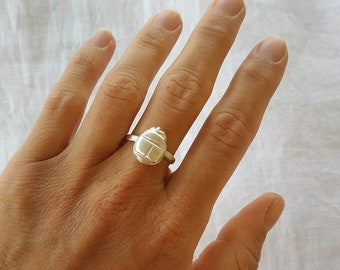 Sterling Silver Scarab Ring, Egyptian Scarab Ring, Scarab Beetle Ring, Boho Ring, Scarabaeus Solid Silver Ring