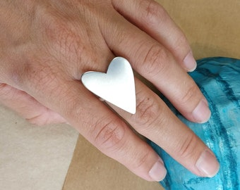 Heart Shape Ring, Silver Plated Brass Heart Ring, Big Heart Ring, Romantic Ring, Love Ring, Gift For Her, Bold Heart Silver Ring