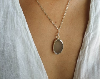 Sea Glass Necklace, Silver 925 Transparent Sea Glass Pendant, Sea Glass Jewellery, Handmade Sea Glass Jewellery Made In Greece