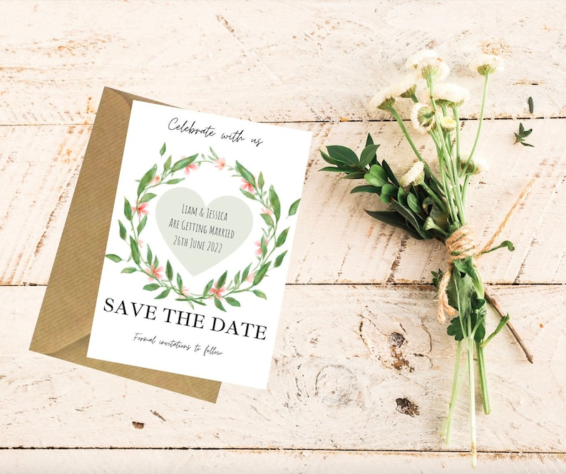 Save the date wedding card and envelope
