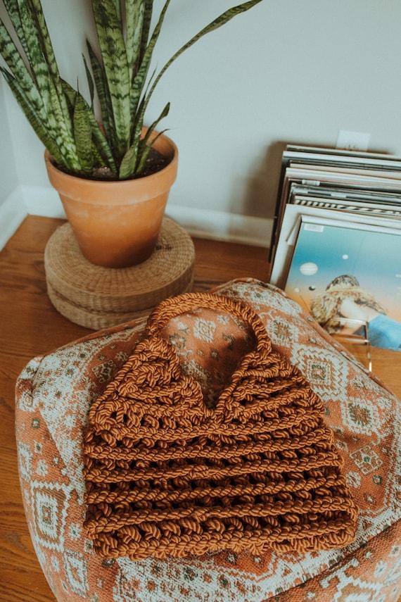 Macrame Handbag, Vintage Shoulder Bag, Handmade Ba