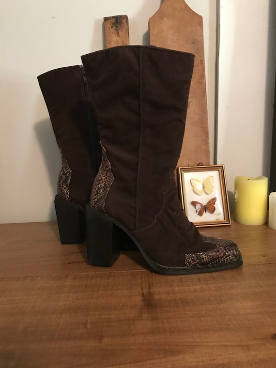 Vintage Square Toe Boots, Brown Square Toe Boots,