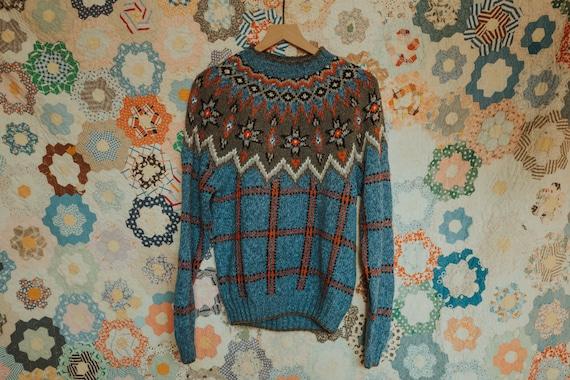 Vintage Hand Knit Sweater, Vintage Fair Isle Sweat