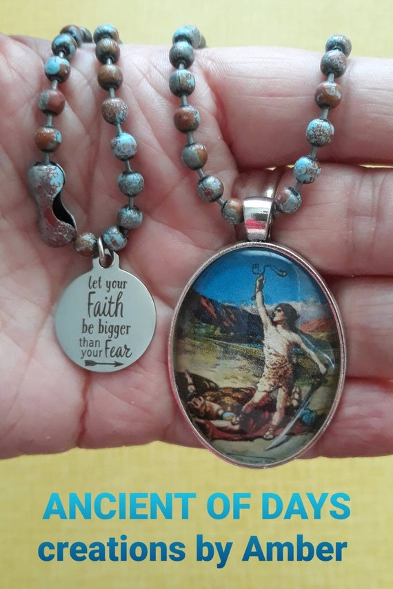Cameo Glass Pendant Jesus Walking On Water Fishers of Men Charm Necklace