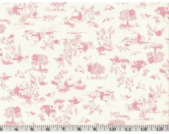 """WIDE BACK - Country Day Pink on White Corduroy Fabric - 100% cotton -  1/2 yd CUTS - 58"""" wide"""