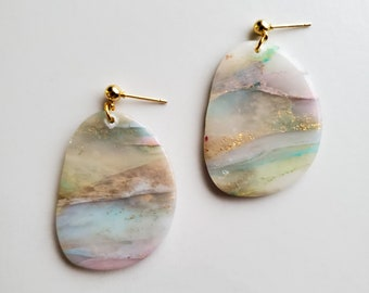 The Stella | Crystal + Gold Flake | Oval | Polymer Clay Earrings