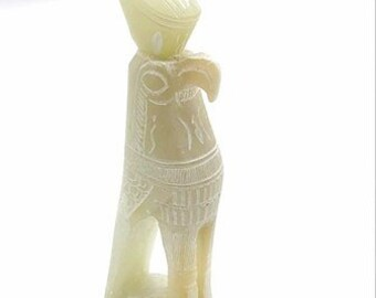 A beautiful hand crafted Egyptain god  Horus statue in white stone