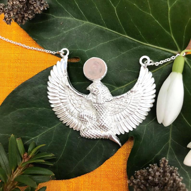 Unique Horus pendant necklace with Rose Quartz *Egyptian Glastonbury 925 Silver Handmade God Magic Healing Protection Regeneration*