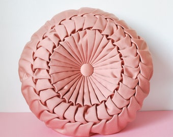 Beautiful pink round decorative cushion draped with two sides vintage