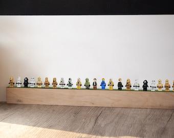 Minifigure display shelf,Wood display shelf,Toys display shelf,Wall display for small toys,Floating wall shelf wood,Minifigure wall display