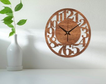 Wall clock with numbers,Wall clock kitchen,Modern wall clock numbers,Wood wall clock numeral,Wooden clock large,Wooden clock small