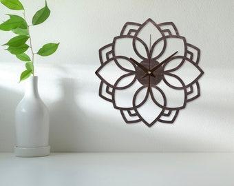 Geometric wood clock,Flower wall clock,Wooden clock custom,Wall clock unique,Large wall clock flower,modern wall clock decor,Wood wall clock