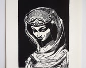 Hand printed linocut quot The Virtue crushing the Vice quot Gothic sculpture, Strasbourg Cathedral, black and white linoprint