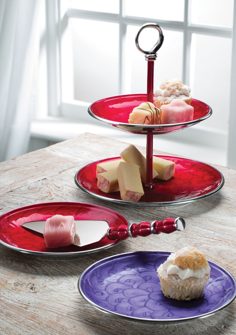 2-Tier Cake Serving Stand Cupcake Tray Appetiser Tray Snack image 1