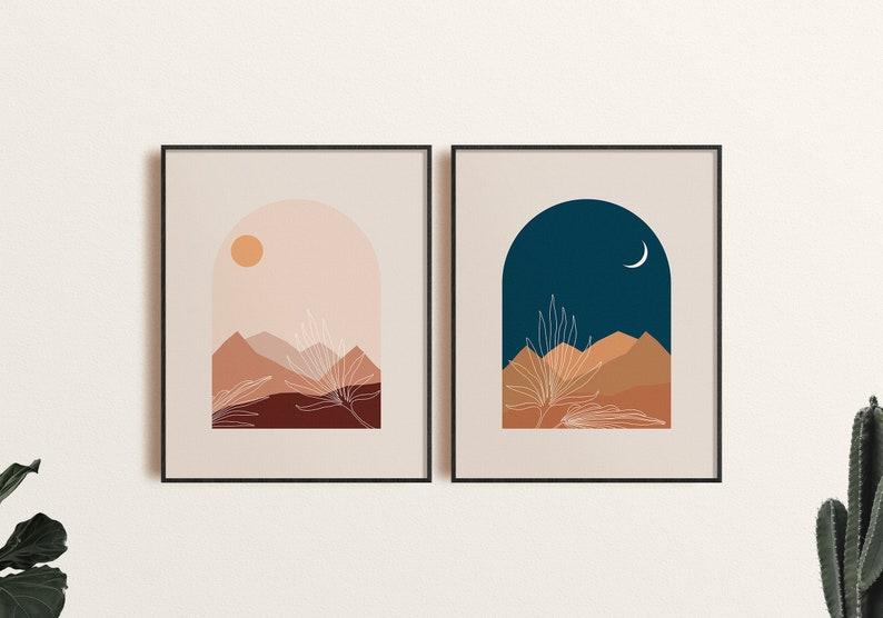Bohemian Printable Moon Arch Window Sun Moon Set of 2 Palm Leaves Boho Landscape Print Boho Bedroom Art Neutral Tones Desert Diptych