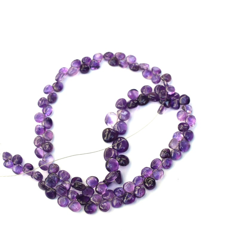 1 strand quality Amethyst  Heart Smooth Beads,Long Strand 5x6mm-6mm-7mm  Heart beads,Side Drilled  gemstone Beads 14 inch  R055