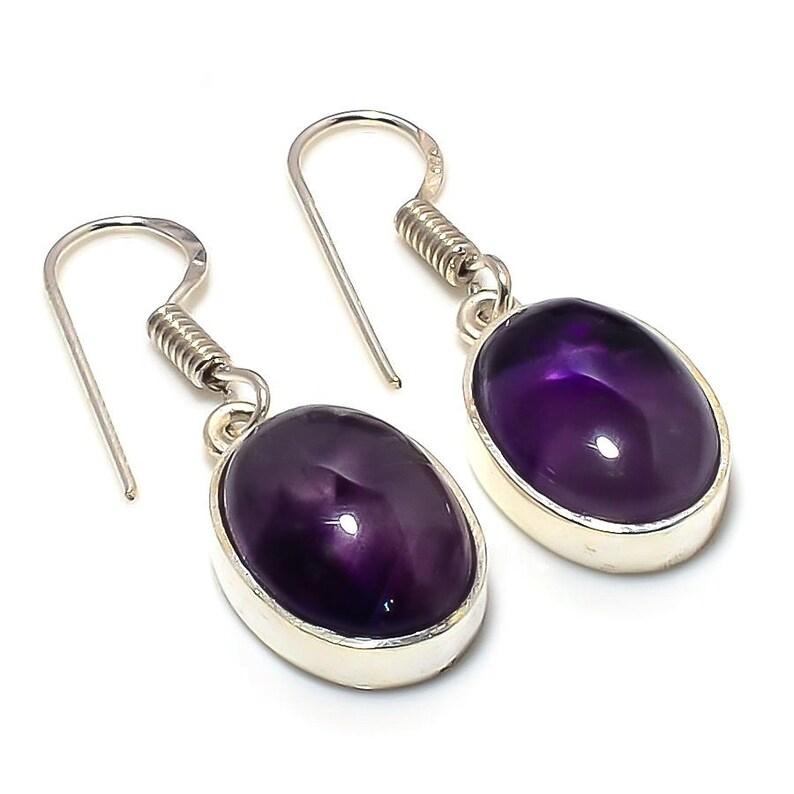 1 pair  Gemstone Brazilian Sage Amethyst Handmade 925 Sterling Silver  Jewelry Earring 1.58 InchL-1983 oval shape earrings jewelry for her