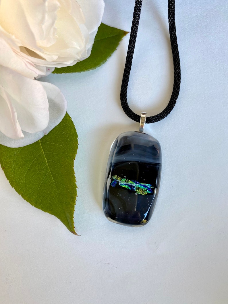 Black necklace with a chain Free shipping One Of A Kind Black and Grey glass necklace sparkling gold glass