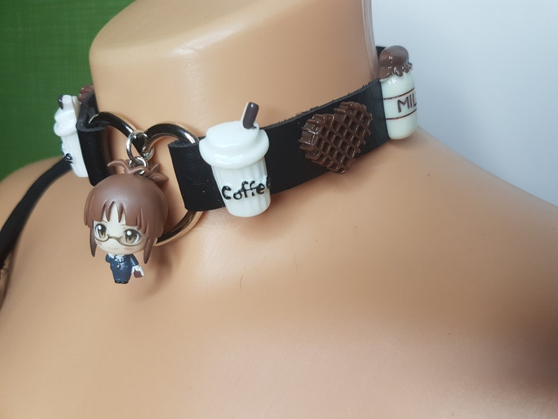 coffee anime girl choker milk sweet waffle cute chocolate KAWAII anime chibi figure collar heart black HARAJUKU style