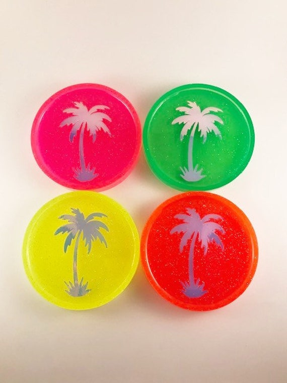 Neon Glitter Circle Resin Coaster