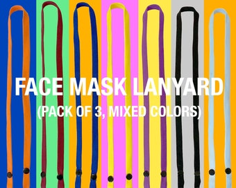for Mask Loss Prevention Neon Orange, for Adults AYD Colorful Lanyard Mask Neck Strap Holder Mask Strap Made in Korea 2Pcs Snap Button Trendy Design Mask Lanyard 65cm Mask Anti-Loose