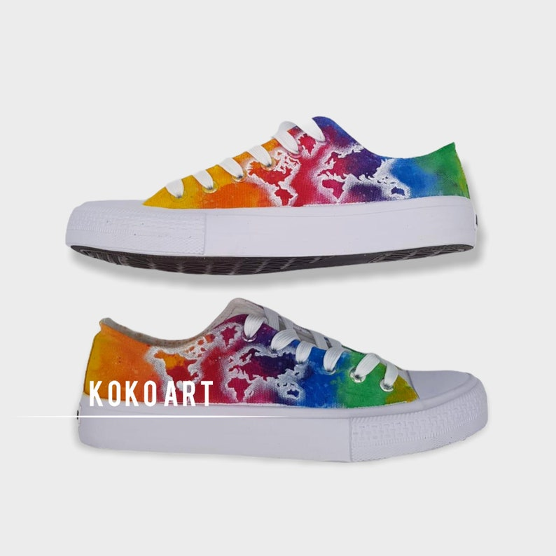 Coloured Map Kids Hand Painted Shoes