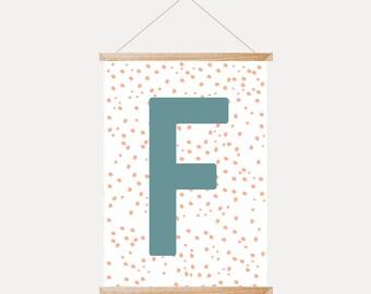 Customised Printable Letter Wall Art, Initial Letter For Nursery