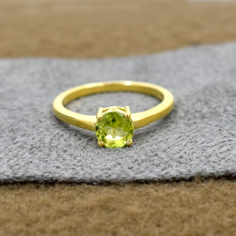 Peridot Stone Ring Gemstone Jewelry August Birthstone Ring Dainty Ring 18k Gold Plated Ring Delicate Ring For Her Handmade Jewelry