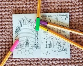 Little Houses Mini Coloring Book Zine