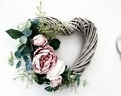 Door Wreath Wicker Heart Wreath Wedding Decoration Wedding Decor Salon Decor Heart Wall Decor Floral Wreath Heart Door Wreath