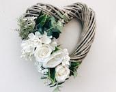 Door Wreath Wicker Heart Wreath Wedding Decoration Wedding Decor Hanging Wreath Heart Wall Decor Floral Wreath Heart Door Wreath