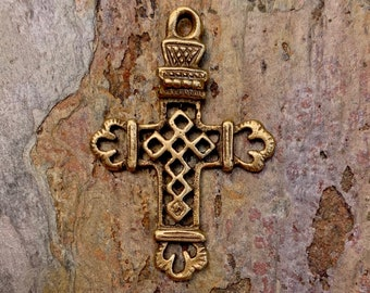 Small Lattice Cross in Gold Bronze, France, (Jump Ring Optional) R-125