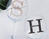 Name Initial Personalized Gift Gin Tall Glasses in Black White Gold Rose Gold Metallic