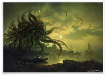 Shoggoth & H.P. Lovecraft at Moonlit Bay - Poster of Kaiju, Printed with Archival-Ink, Movie inspired Pastiche Art Signed by the Artist