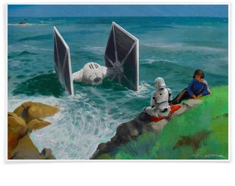 Stranded Stormtrooper and Tie Fighter after Laura Knight,  Star Wars Tribute Printed with Archival-Ink, Inspired Mashup Art Signed by Artist