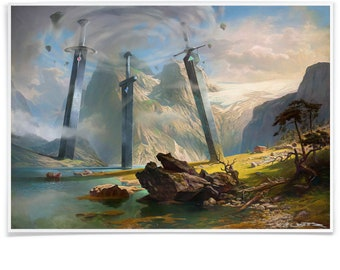 3 giant Swords at the Mountains Art Print, Stavanger Swords Landscape Poster, Pastiche Printed with Archival-Ink Mashup-Art Signed by Artist