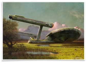 Forgotten Spaceship at the Meadow, Landscape Art, Starship Poster Printed with Archival-Ink, Movie inspired Pastiche Signed by the Artist