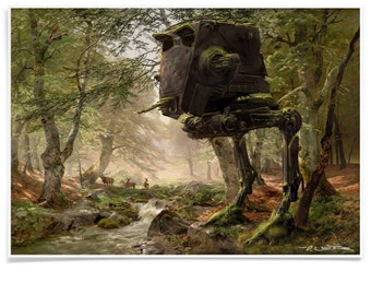 Abandoned Walker in the Forest Print, Landscape Poster Printed with Archival-Ink, Pastiche Mashup Art Signed by Artist