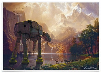 3 legged Walker among Sierra Nevada, Exclusive Print Painted Landscape Poster, Printed with Archival-Ink Pastiche Art Signed by Artist