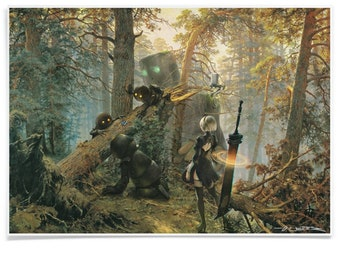 Robots in a Pine Forest - Poster Printed with Archival-Ink, Video Game Inspired Pastiche Mashup-Art Signed by Artist