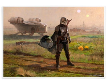 The Mandalorian on unknown Planet, Tribute Printed with Archival-Ink, Star Wars Inspired Mashup Art Signed by the Artist