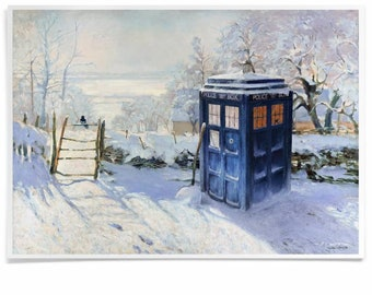 Print of Policebox in Monet Landscape, Magpie Calling Poster, Printed with Archival-Ink, Movie Inspired Pastiche Mashup-Art Signed by Artist