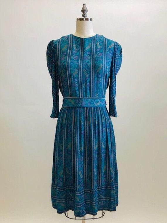 Vintage Teal Floral Viscose Midi Length Dress with