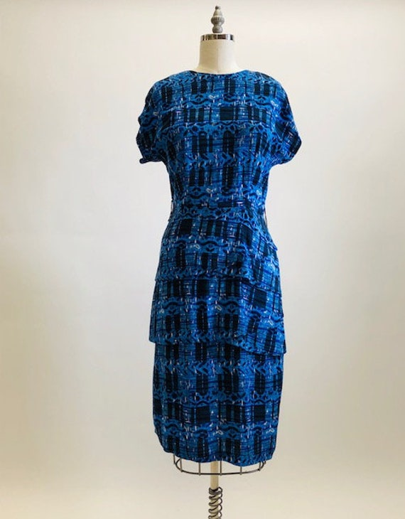 Vintage Blue Tiered Rayon Dress
