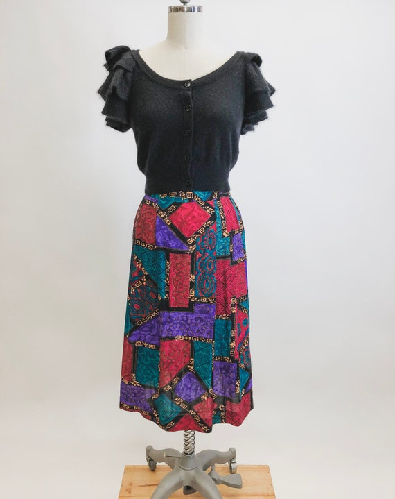 Vintage Abstract Jewel Rayon Skirt