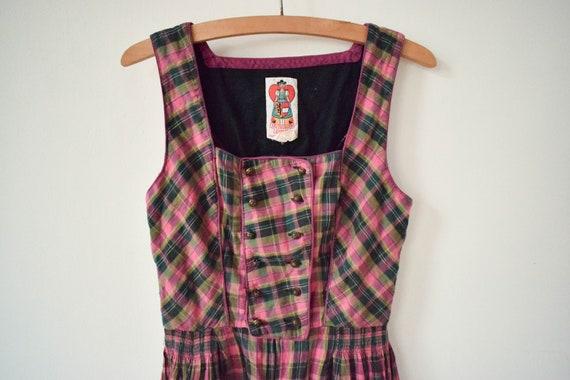 Vintage Checked Traditional Austrian Dress Folk