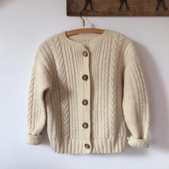 Beige Wool Handknitted Cardigan Sweater