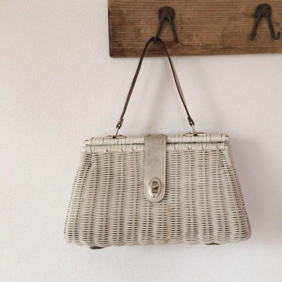 Vintage White  Basket Bag Handbag